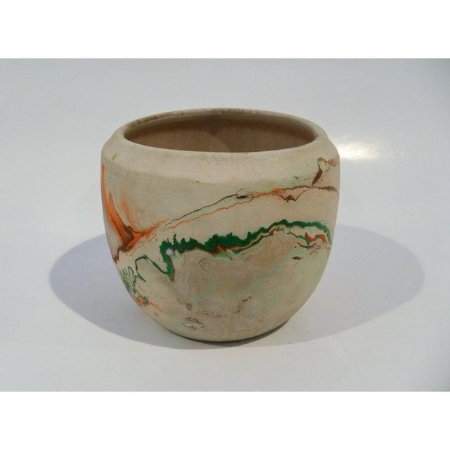 Vintage Roadside Nemadji Pottery in Orange & Green - Set of 4 For Sale - Image 5 of 8