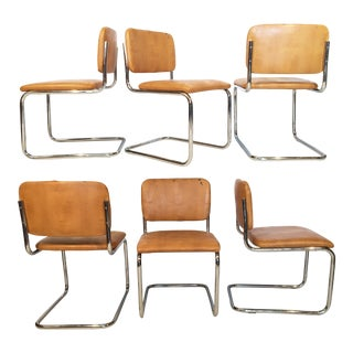 Marcel Breuer Style Tubular Chrome Cantilever Chairs - Set of 6