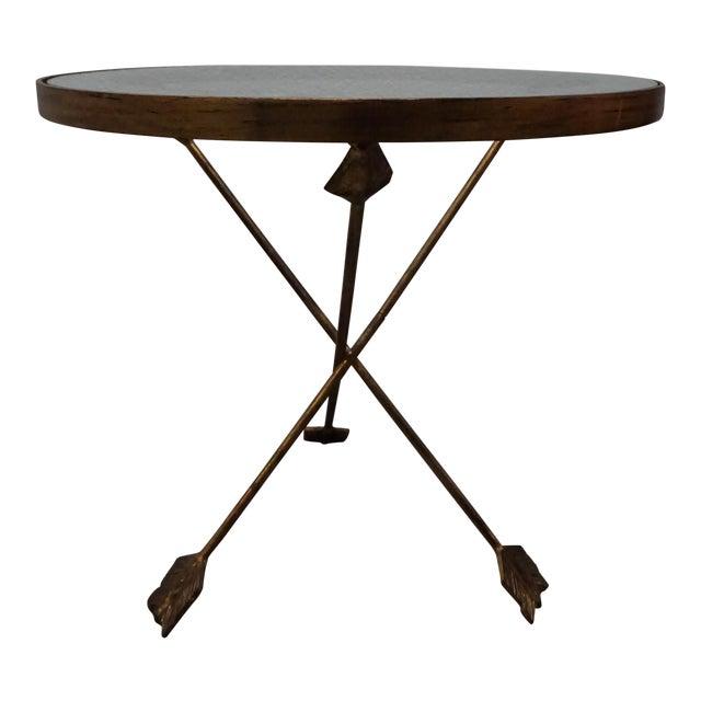 Brass Tripod Arrow Base Side Table For Sale