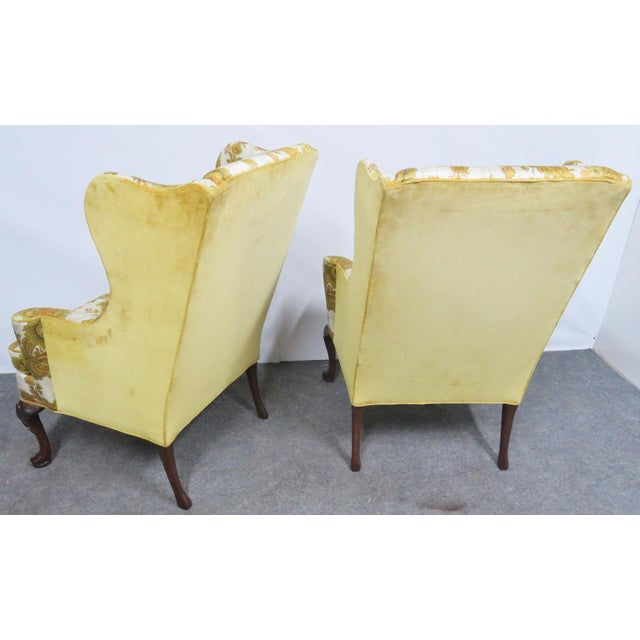 Hickory Furniture Hickory Chair Co. Queen Anne Style Wing Chairs- a Pair For Sale - Image 4 of 9