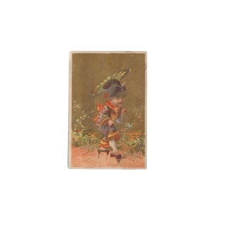 Vintage Asian Painted Lithograph Card For Sale