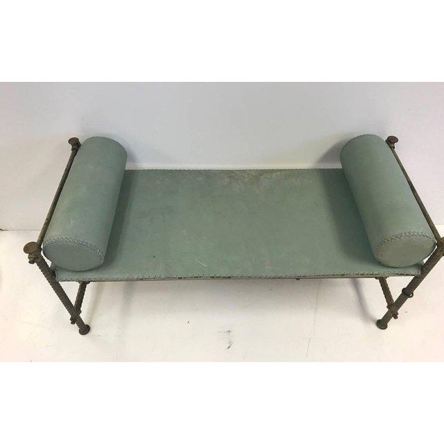Industrial Leather Wrought Iron Bench For Sale - Image 4 of 7