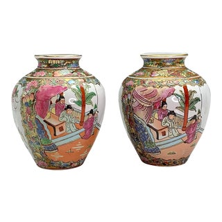 20th Century Chinese Famille Rose Porcelain Gilt Vases or Urns, Pavillion Scenes - a Pair For Sale