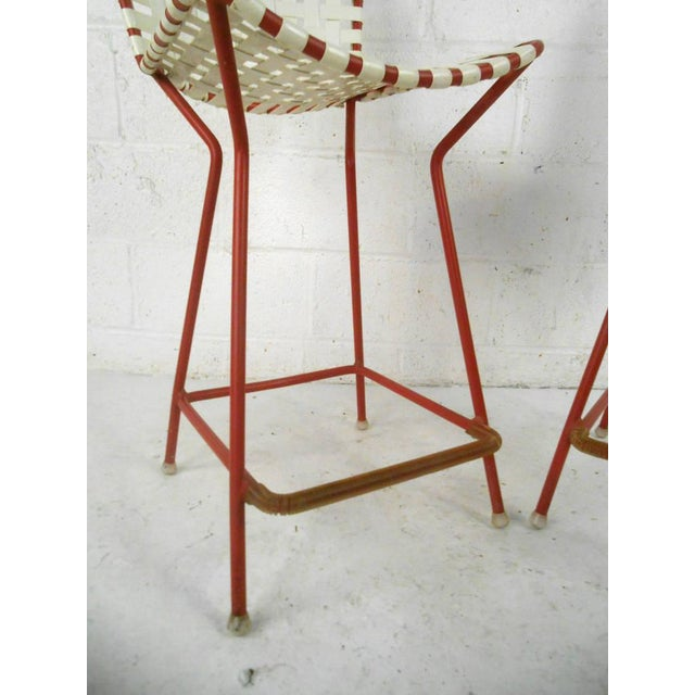 Remarkable Mid Century Iron Vinyl Counter Stools A Pair Cjindustries Chair Design For Home Cjindustriesco