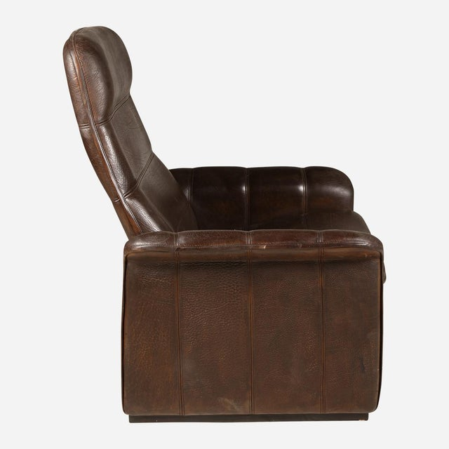 Mid-Century Modern De Sede Brown Leather Recliner For Sale - Image 3 of 5