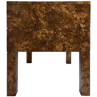 Mid Century Modern Parsons-Style Tortoise Side Table For Sale