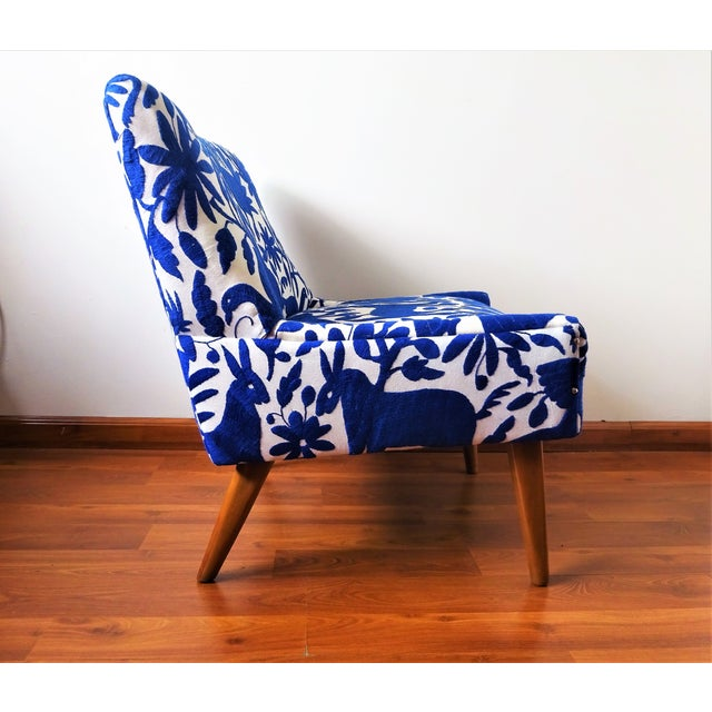 Mid-Century Bohemian Cobalt Blue Otomi Hand Embroidered Lounge Chair For Sale - Image 4 of 11