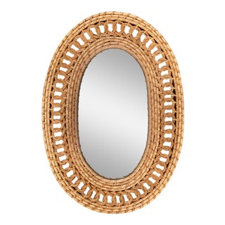 Natural Woven and Braided Wicker Rattan Oval Mirror For Sale
