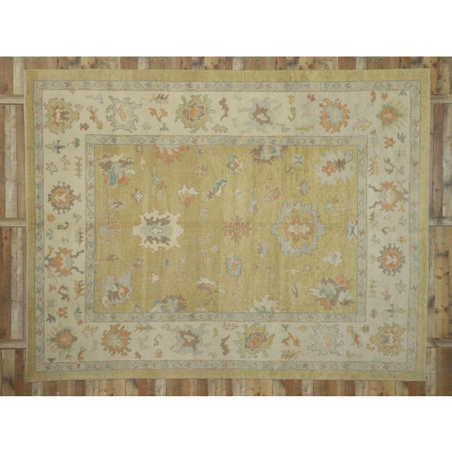 Sand Contemporary Turkish Oushak Rug - 10′2″ × 13′2″ For Sale - Image 8 of 10
