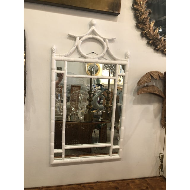 Vintage Hollywood Regency White Lacquered Faux Bamboo Pagoda Wall Mirror For Sale - Image 4 of 9
