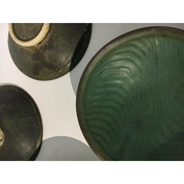 Ceramic 1980s Contemporary Handcrafted Green Ceramic Bowls - Set of 6 For Sale - Image 7 of 8