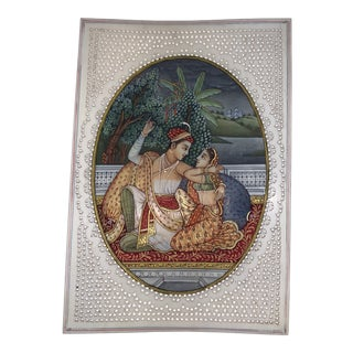 Antique Indian Mughal Empire Original Miniature Painting on Ivory For Sale