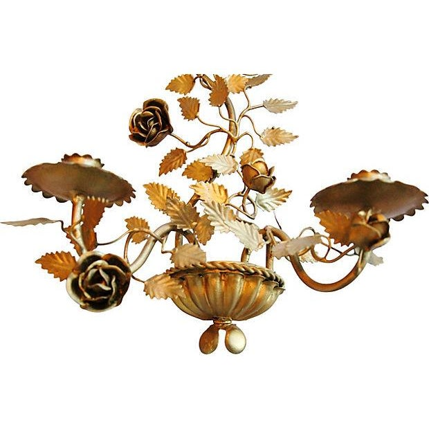 Mid-Century Italian Floral Candle Sconces - A Pair - Image 4 of 7