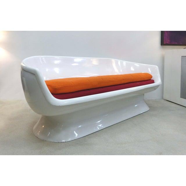 Plastic Chromcraft Space Age Enameled Fiberglass Shell Sofa, Circa 1960s For Sale - Image 7 of 11