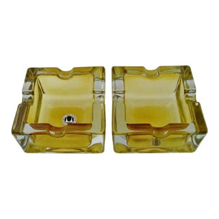 Vintage German Glass Ashtrays - A Pair For Sale