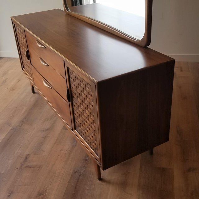 1960s Lane Perception Nine Drawer Dresser With Mirror For Sale - Image 10 of 13
