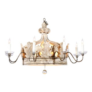Baroque Style Carved Wooden Crown Chandelier Made of 19th Century Italian Parts For Sale