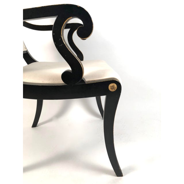 Black Regency Style Ebonized and Parcel Gilt Armchair For Sale - Image 8 of 12