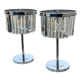 Brilliant Crystal Lamps and Chrome - a Pair For Sale