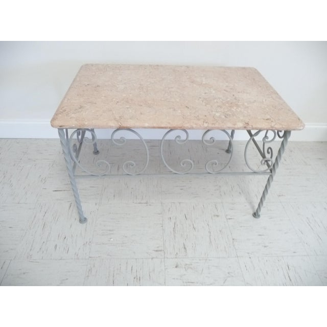 Vintage French Iron & Marble Top Coffee Table - Image 3 of 9