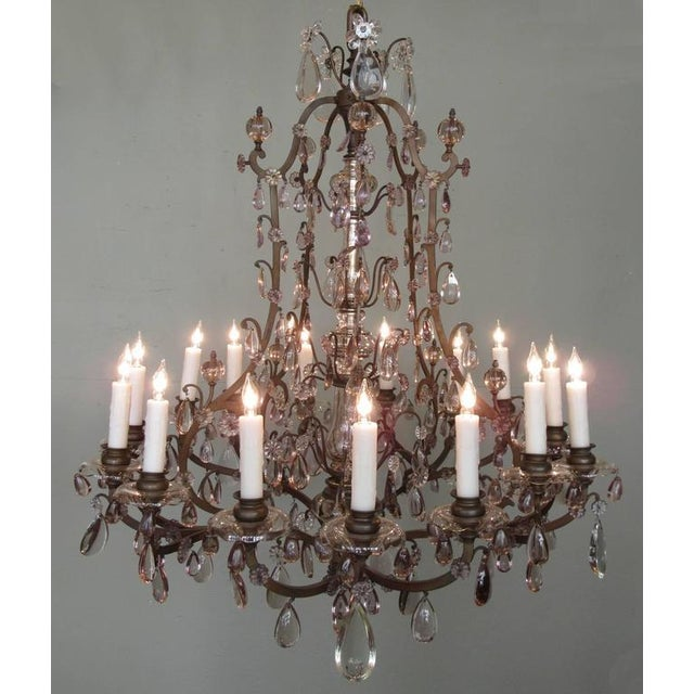 Baroque Early 20th C Italian Patinated Bronze, Crystal and Amethyst Chandelier For Sale - Image 3 of 9