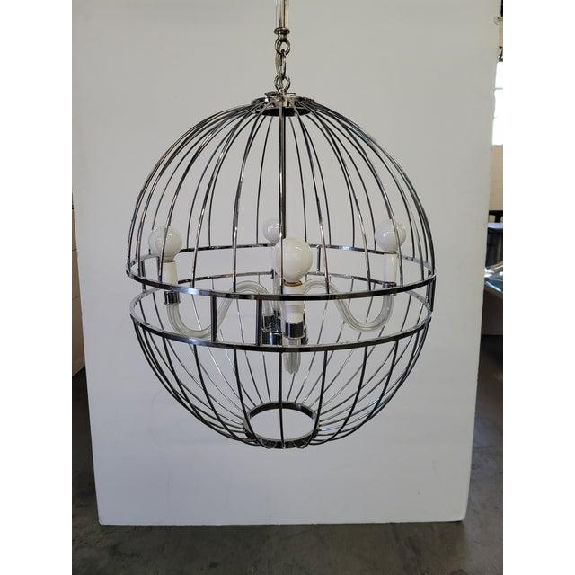 Metal Paul Marra Design Polished Nickel Sphere Chandelier For Sale - Image 7 of 7