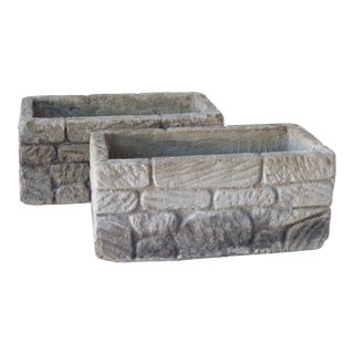 Vintage Concrete Planters - a Pair For Sale