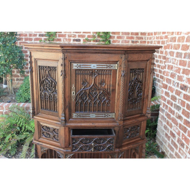 Antique French Gothic Vestry Sacristy Cabinet Oak 19th Century For Sale - Image 9 of 13