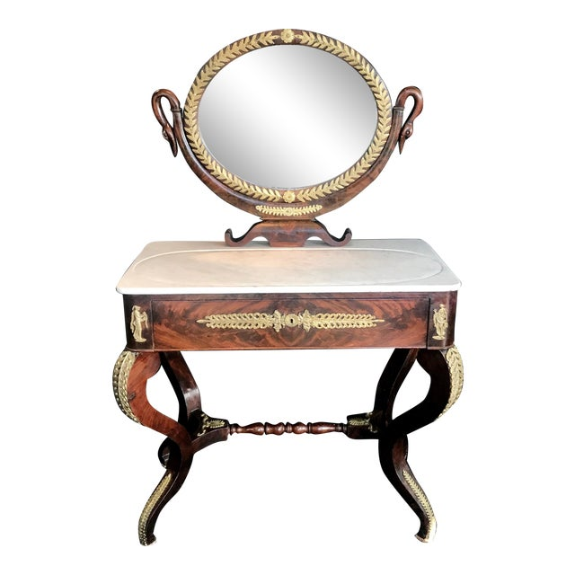 19th Century French Empire Neoclassical Mahogany Dressing Table Vanity For Sale