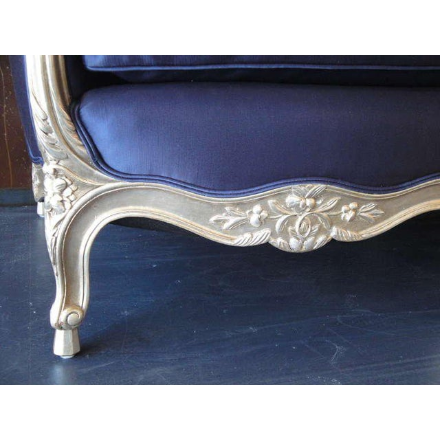 Ornamental & Decorative Materials 1930s Vintage French Silver Leaf Canape For Sale - Image 7 of 9