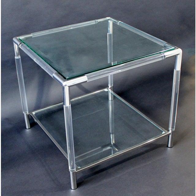 Mid-Century Modern Charles Hollis Jones Era Chrome Lucite Glass Coffee Table For Sale - Image 9 of 9
