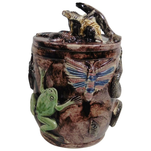 Late 19th Century Antique Manuel Mafra Portuguese Palissy Majolica Jar For Sale In Austin - Image 6 of 6