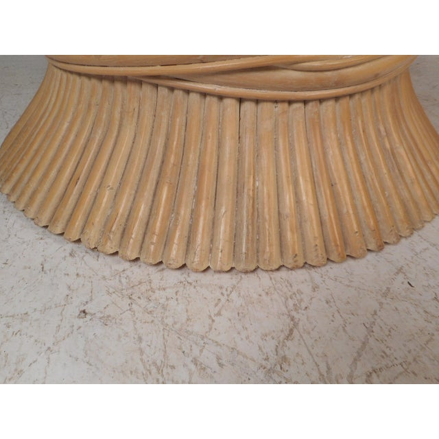 Brown Vintage Modern McGuire Bamboo Wheat Sheaf Coffee Table For Sale - Image 8 of 11