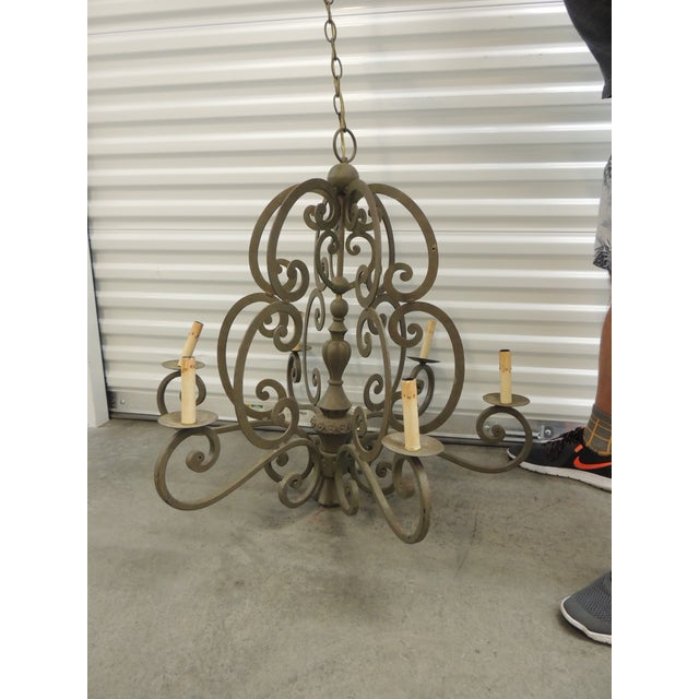 Large Traditional Forged Iron Hanging Chandelier From Curry & Co For Sale - Image 12 of 12