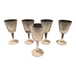 Set of Five Waterford White Wine Crystal Goblets For Sale
