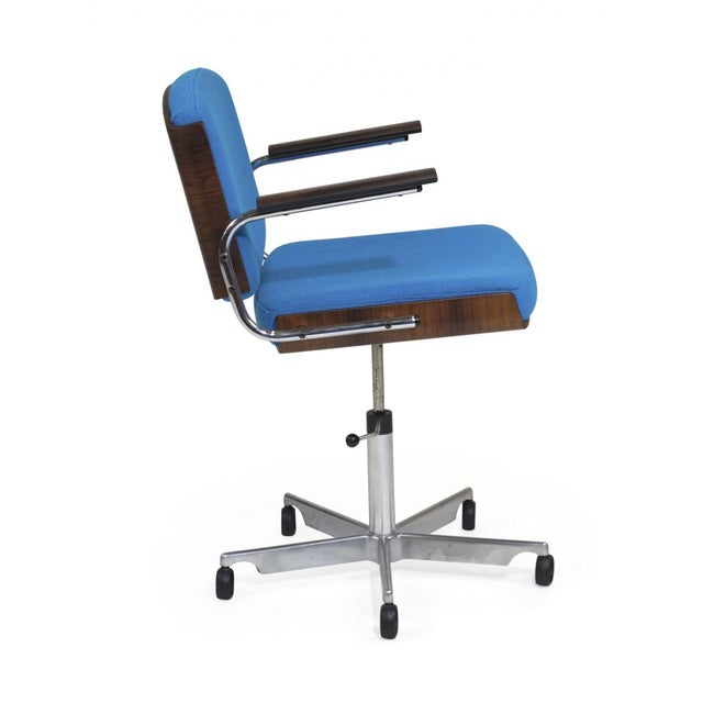 Danish Rosewood and Chrome Office Chair in Turquoise Wool For Sale - Image 4 of 10