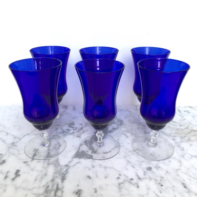 Vintage Cobalt Blue Wine Glasses - Set of 6 - Image 4 of 6