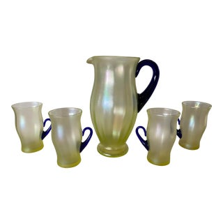Vintage Pitcher and Glasses With Cobalt Handles - 5 Piece Set For Sale