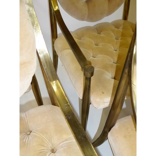 1960s Vintage Mastercraft Brass Tufted Velvet Dining Chairs - Set of 6 For Sale - Image 9 of 13