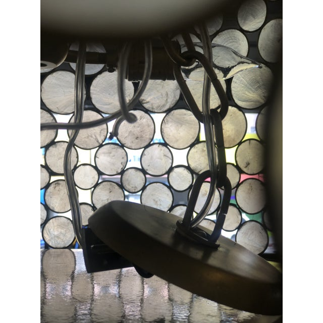 Metal Mid-Century Modern Style Capíz Shell Chandelier For Sale - Image 7 of 8