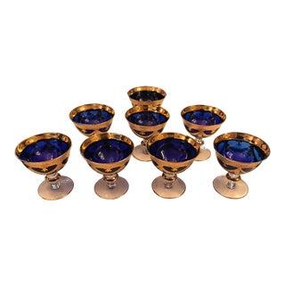 24k Gilt Gold, Cobalt Blue Goblet/Dessert/Fruit Cup, Vintage For Sale