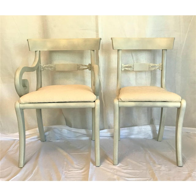 1940s Gustavian Ivory Klismos Dining Chairs - Set of 6 For Sale - Image 6 of 10