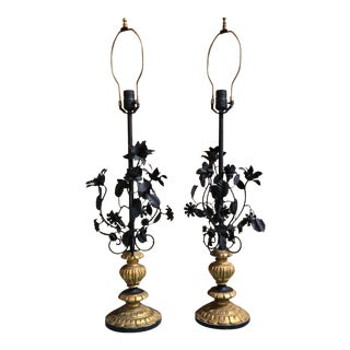 Vintage Metal Painted Flower Lamps With Gilt Bases - a Pair For Sale