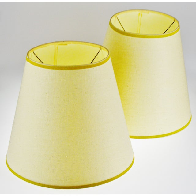 Traditional Vintage Bell Shape Linen Fabric Lamp Shades - a Pair For Sale - Image 3 of 12