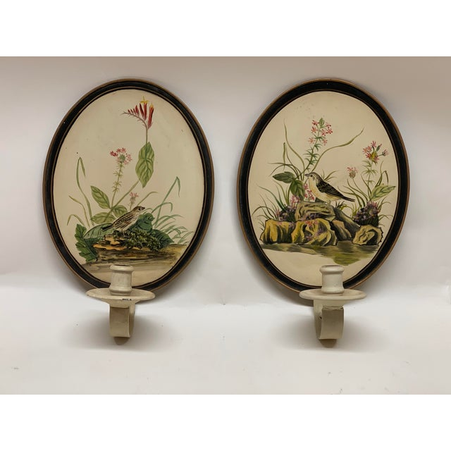 Mid-Century Antique Birds Hand Painted Tole Wall Sconces - a Pair For Sale In West Palm - Image 6 of 6
