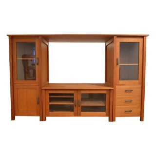 Solid Wood Cherry Mission Entertainment Center For Sale