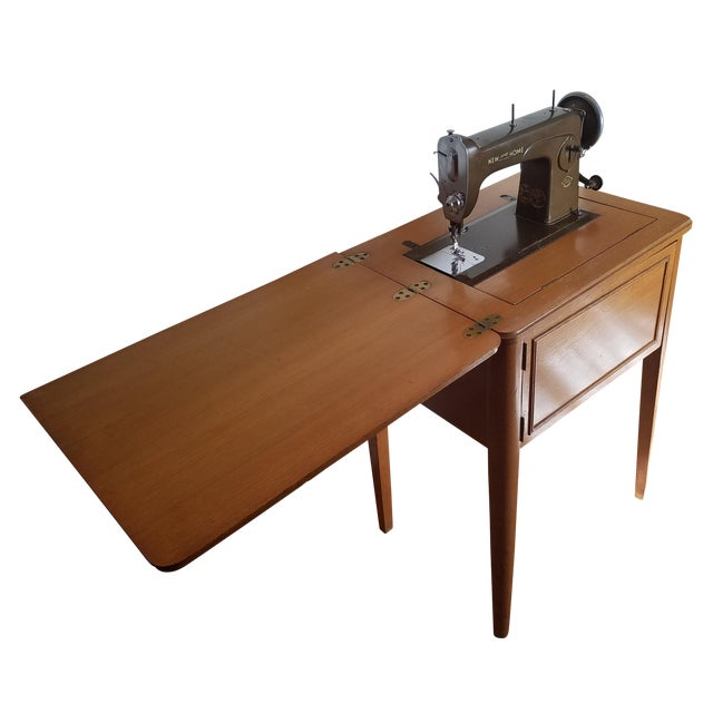 Mid-Century New Home Sewing Machine With Cabinet - Image 1 of 5