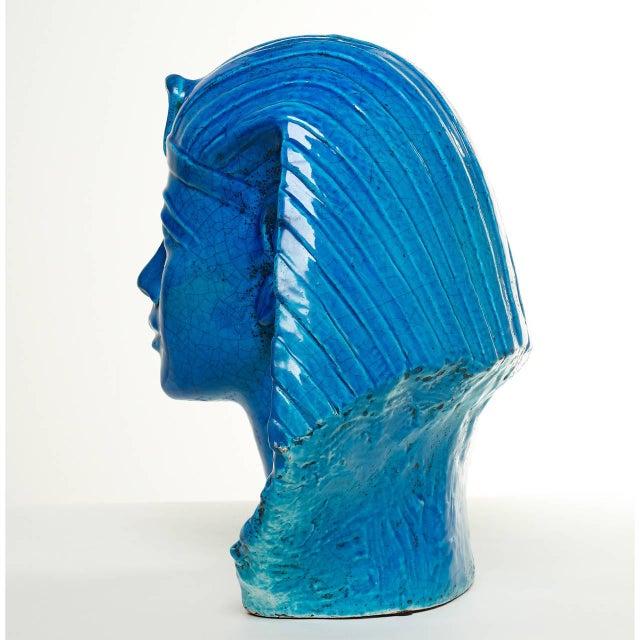 Persian Blue Glaze King Tutankhamun Ceramic Bust by Ugo Zaccagnini - Image 3 of 8