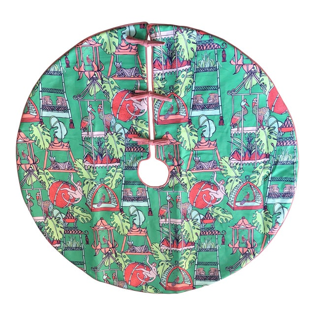 Pink and Green Tropical Patterned Christmas Tree Skirt For Sale