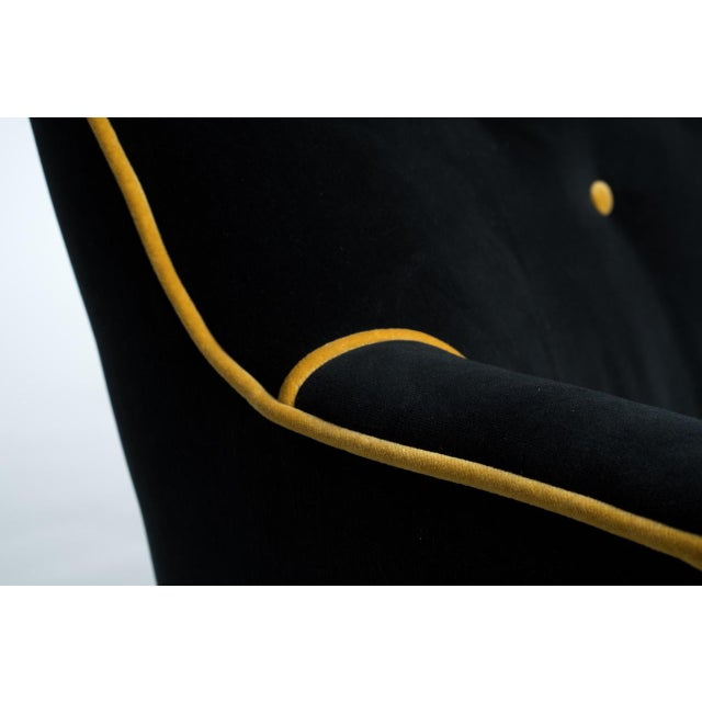Black & Gold Velvet Sofa - Image 4 of 8